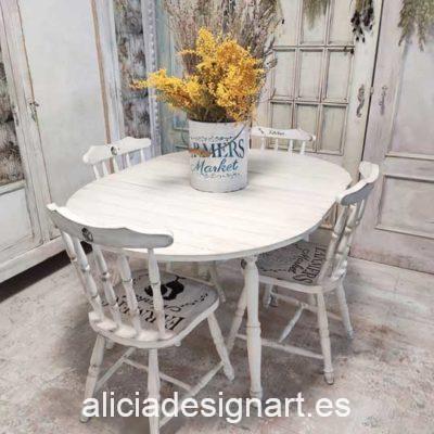 Mesa de comedor redonda extensible estilo Farmhouse blanco - Taller de decoración de muebles antiguos Madrid. Muebles de colores, productos y cursos.