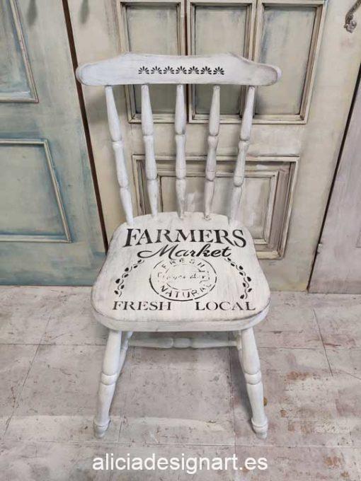 Silla Windsor vintage estilo farmhouse color blanco con stencil flores - Taller de decoración de muebles antiguos Madrid estilo Shabby Chic, Provenzal, Romántico, Nórdico