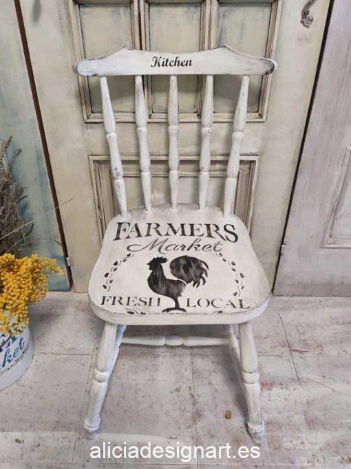 Silla Windsor vintage estilo farmhouse color blanco con stencil kitchen - Taller de decoración de muebles antiguos Madrid estilo Shabby Chic, Provenzal, Romántico, Nórdico