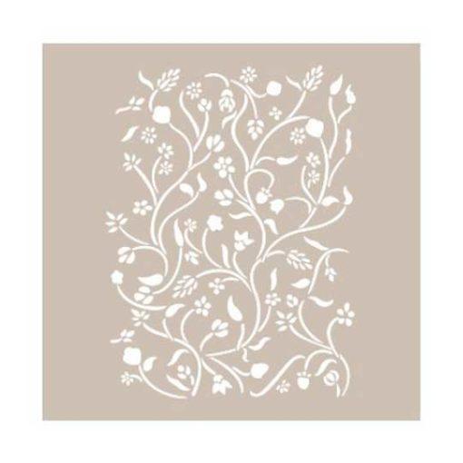 Plantilla de stencil estarcido con ramas y flores AS414 - Taller decoración de muebles antiguos Madrid estilo Shabby Chic, Provenzal, Romántico, Nórdico