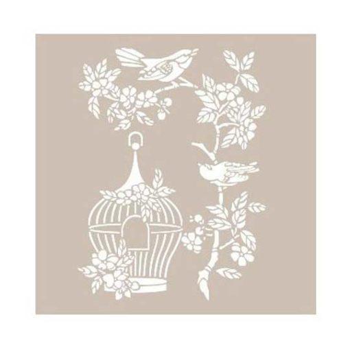 Plantilla de stencil estarcido con ramas y jaula AS539 - Taller decoración de muebles antiguos Madrid estilo Shabby Chic, Provenzal, Romántico, Nórdico