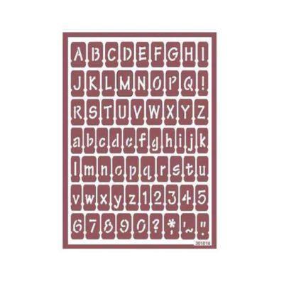 Plantilla de stencil estarcido con letras y números para ácido 96024700 - Taller decoración de muebles antiguos Madrid estilo Shabby Chic, Provenzal, Romántico, Nórdico