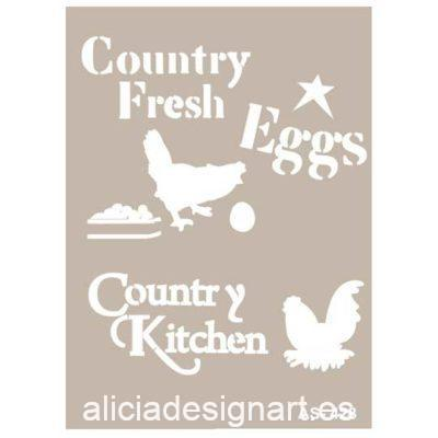 Plantilla de stencil estarcido Country Kitchen AS428 - Taller decoración de muebles antiguos Madrid estilo Shabby Chic, Provenzal, Romántico, Nórdico