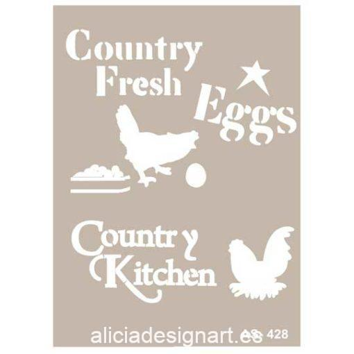 Plantilla de stencil estarcido Country Kitchen AS428 - Taller decoración de muebles antiguos Madrid estilo Shabby Chic, Provenzal, Romántico, Nórdico