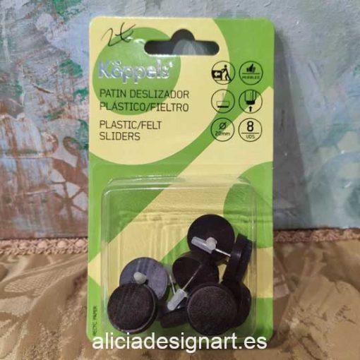 Pack de 8 patines deslizadores de 20 mm en plástico con protección de fieltro - Tienda de productos de decoración de muebles