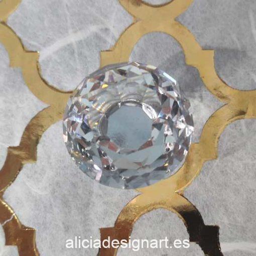 Pomos tiradores de cristal transparente con forma de diamante - Tienda de productos de decoración en Madrid. Plantillas de stencil, papel découpage, pintura decoración, chalk Paint, accesorios
