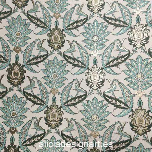 Papel florentino decorativo Arabesque de Rossi ref: CRT172 - Taller decoración de muebles antiguos Madrid estilo Shabby Chic, Provenzal, Romántico, Nórdico
