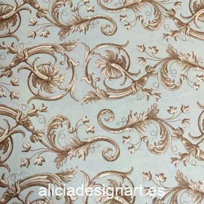 Papel florentino decorativo Baroque Flowers de Rossi ref: TSC055 - Taller decoración de muebles antiguos Madrid estilo Shabby Chic, Provenzal, Romántico, Nórdico