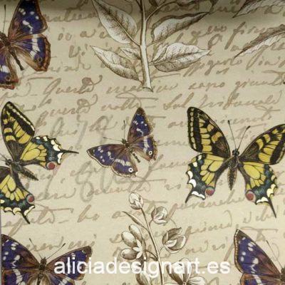 Papel florentino decorativo Botanic Butterflies de Rossi ref: CRT086 - Taller decoración de muebles antiguos Madrid estilo Shabby Chic, Provenzal, Romántico, Nórdico
