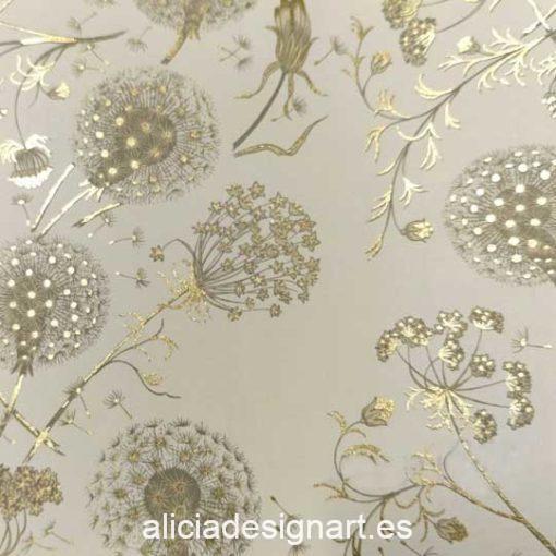 Papel florentino decorativo Dandelion de Rossi ref: CRT135 - Taller decoración de muebles antiguos Madrid estilo Shabby Chic, Provenzal, Romántico, Nórdico