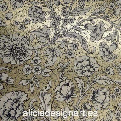Papel florentino decorativo Flowers de Rossi ref: TSC029 - Taller decoración de muebles antiguos Madrid estilo Shabby Chic, Provenzal, Romántico, Nórdico