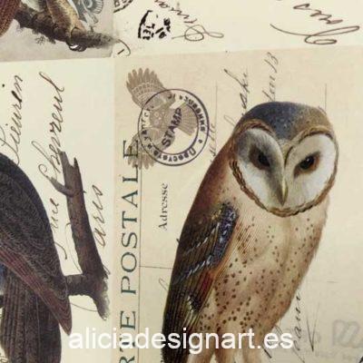 Papel florentino decorativo Owl de Rossi ref: CRT682 - Taller decoración de muebles antiguos Madrid estilo Shabby Chic, Provenzal, Romántico, Nórdico