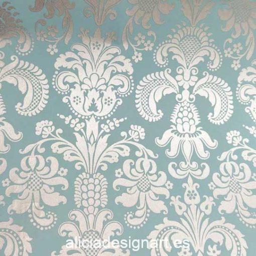 Papel florentino decorativo Tapestry de Rossi ref: CRT904 - Taller decoración de muebles antiguos Madrid estilo Shabby Chic, Provenzal, Romántico, Nórdico