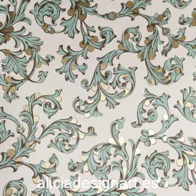 Papel florentino decorativo Traditional Florentine 140 de Rossi ref: CRT140 - Taller decoración de muebles antiguos Madrid estilo Shabby Chic, Provenzal, Romántico, Nórdico