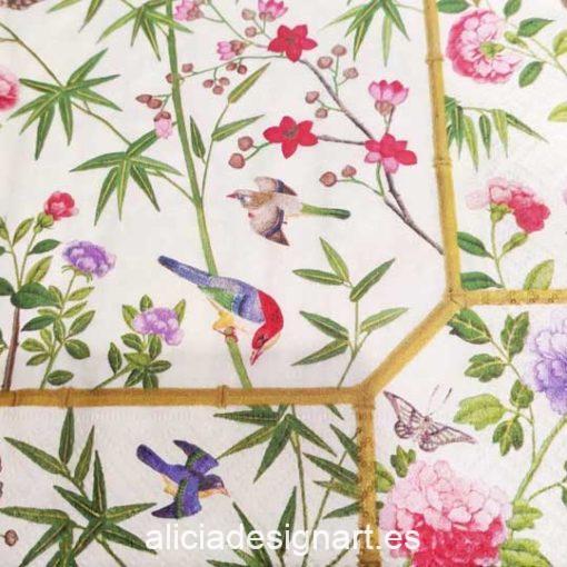 Servilleta para découpage con aves de paraíso - Decoración de muebles antiguos estilo Shabby Chic, Provenzal, Romántico, Nórdico