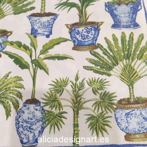 Servilleta para découpage con palmeras - Decoración de muebles antiguos estilo Shabby Chic, Provenzal, Romántico, Nórdico