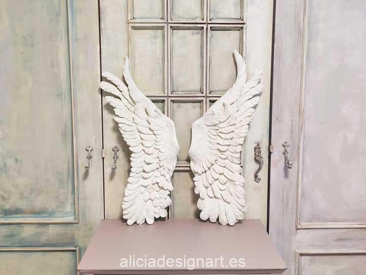 Pack de dos alas grandes de ángel en resina de Cadence para decorar - Taller decoración de muebles antiguos Madrid estilo Shabby Chic, Provenzal, Romántico, Nórdico