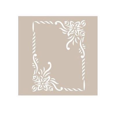 Plantilla de stencil estarcido marco con flores AS495 - Taller decoración de muebles antiguos Madrid estilo Shabby Chic, Provenzal, Romántico, Nórdico