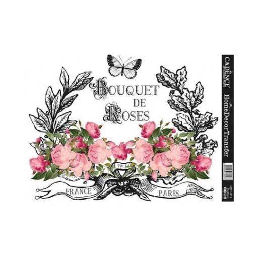 Papel para transfer Bouquet de Roses de Cadence Home Decor ref HDT017 - Taller decoración de muebles antiguos Madrid estilo Shabby Chic, Provenzal, Romántico, Nórdico