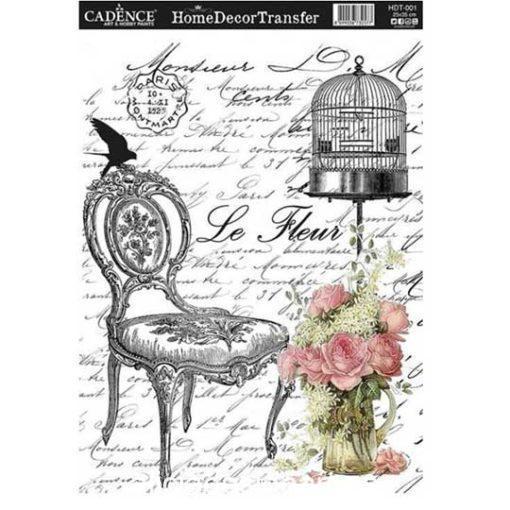 Papel para transfer Butaca le Fleur de Cadence Home Decor ref HDT001 - Taller decoración de muebles antiguos Madrid estilo Shabby Chic, Provenzal, Romántico, Nórdico