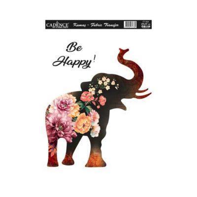 Papel para transfer sobre tejido con silueta de elefante de Cadence ref FT064 - Taller decoración de muebles antiguos Madrid estilo Shabby Chic, Provenzal, Romántico, Nórdico