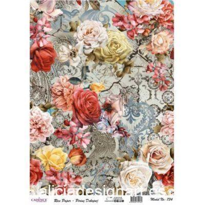 Papel de arroz collage de flores con tonos cálidos de Cadence ref PA734 - Taller decoración de muebles antiguos Madrid estilo Shabby Chic, Provenzal, Romántico, Nórdico