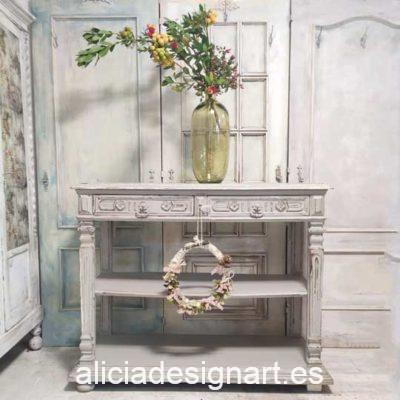 Consola antigua rectangular decorada estilo Shabby Chic gris - Taller decoración de muebles antiguos Alicia Designart Madrid.