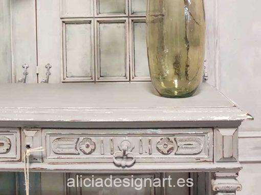 Consola antigua rectangular decorada estilo Shabby Chic gris - Taller decoración de muebles antiguos Alicia Designart Madrid.