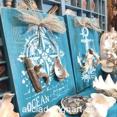 Cuadros artesanos de inspiración costera sobre madera reciclada - Taller decoración de muebles antiguos Madrid estilo Shabby Chic, Provenzal, Romántico, Nórdico