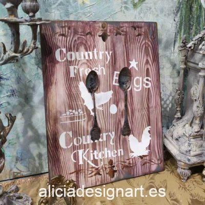 Cuadro decorativo en madera reciclada con cubiertos antiguos y stencil Country Kitchen - Taller decoración de muebles antiguos Madrid estilo Shabby Chic, Provenzal, Romántico, Nórdico