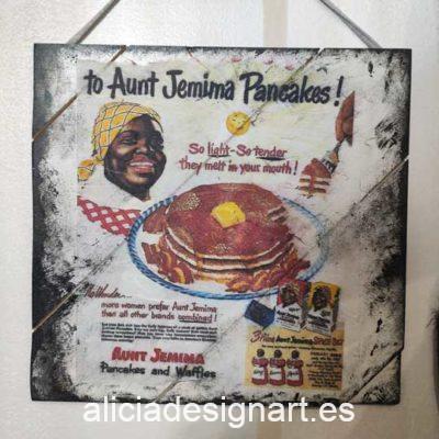 Cuadro decorativo reciclado con publicidad USA de los años 50 Aunt Jemima Pancackes - Taller decoración de muebles antiguos Madrid estilo Shabby Chic, Provenzal, Romántico, Nórdico