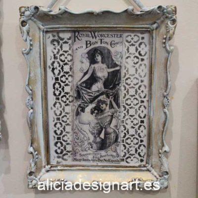 Cuadro decorativo reciclado retro con señoritas vintage - Taller decoración de muebles antiguos Madrid estilo Shabby Chic, Provenzal, Romántico, Nórdico