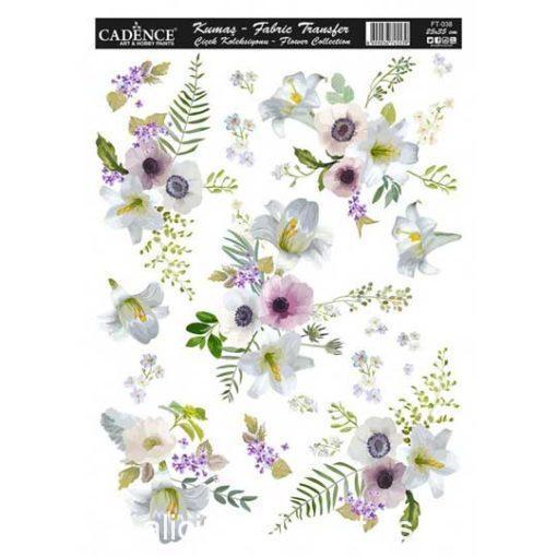 Papel para transfer sobre tejido Flowers de Cadence ref FT038 - Taller decoración de muebles antiguos Madrid estilo Shabby Chic, Provenzal, Romántico, Nórdico