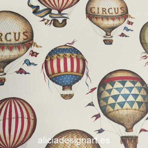 Papel florentino decorativo para découpage y scrapbooking Balloons de Rossi ref: CRT157 - Taller decoración de muebles antiguos Madrid estilo Shabby Chic, Provenzal, Romántico, Nórdico