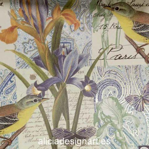Papel florentino decorativo para découpage y scrapbooking Bird and Flower de Rossi ref: CRT111 - Taller decoración de muebles antiguos Madrid estilo Shabby Chic, Provenzal, Romántico, Nórdico