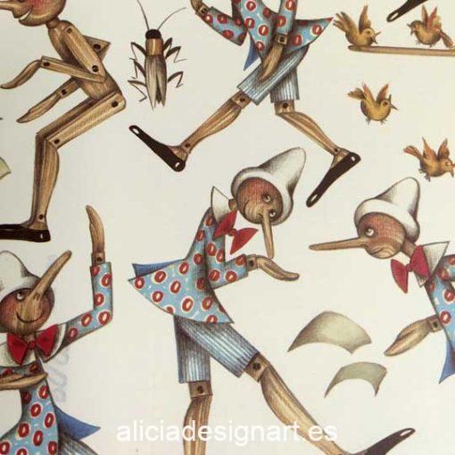 Papel florentino decorativo para découpage y scrapbooking Pinocchio de Rossi ref: CRT530 - Taller decoración de muebles antiguos Madrid estilo Shabby Chic, Provenzal, Romántico, Nórdico