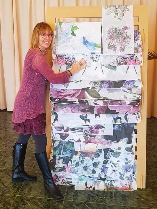 Ejemplo de papel de arroz gran formato Cadence en 60 y 90 cm de ancho - Decoración de muebles antiguos estilo Shabby Chic, Provenzal, Romántico, Nórdico