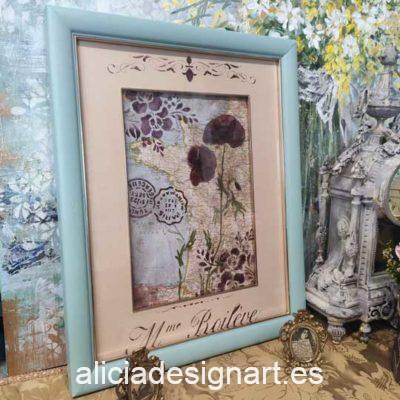 Cuadro decorativo con mapa antiguo reciclado y amapolas secas naturales - Taller decoración de muebles antiguos Madrid estilo Shabby Chic, Provenzal, Romántico, Nórdico