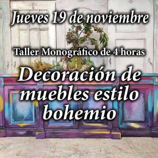 Curso taller de decoración y pintura de muebles estilo bohemio 19 de noviembre 2020 - Taller de decoración de muebles antiguos Alicia Designart Madrid