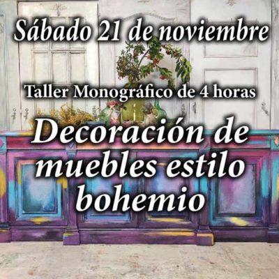 Curso taller de decoración y pintura de muebles estilo bohemio 21 de noviembre 2020 - Taller de decoración de muebles antiguos Alicia Designart Madrid