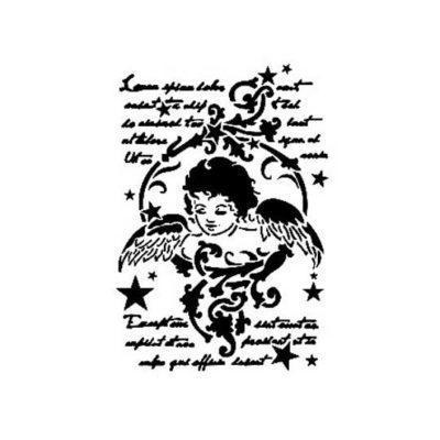 Plantilla de stencil estarcido Angel de Navidad AS528 - Taller decoración de muebles antiguos Madrid estilo Shabby Chic, Provenzal, Romántico, Nórdico