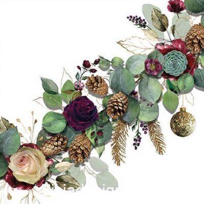 Servilleta para découpage con flores de eucalyptus blanco - Decoración de muebles antiguos estilo Shabby Chic, Provenzal, Romántico, Nórdico