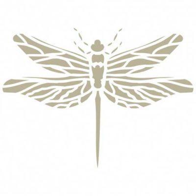 Plantilla de stencil estarcido Deco Vintage con figura de libélula 047 - Taller decoración de muebles antiguos Madrid estilo Shabby Chic, Provenzal, Romántico, Nórdico