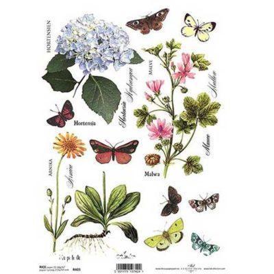 Papel de arroz para découpage con flores y mariposas ref R403 - Taller decoración de muebles antiguos Madrid estilo Shabby Chic, Provenzal, Romántico, Nórdico