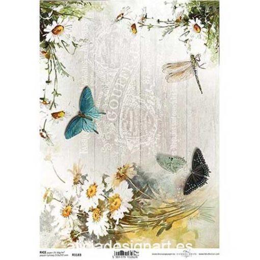 Papel de arroz para découpage con flores y mariposas ref R1183 - Taller decoración de muebles antiguos Madrid estilo Shabby Chic, Provenzal, Romántico, Nórdico
