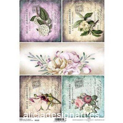 Papel de arroz para découpage con 4 tarjetas con flores ref R1123 - Taller decoración de muebles antiguos Madrid estilo Shabby Chic, Provenzal, Romántico, Nórdico