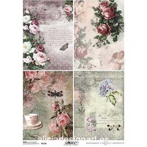 Papel de arroz para découpage con 4 tarjetas con flores ref R1158 - Taller decoración de muebles antiguos Madrid estilo Shabby Chic, Provenzal, Romántico, Nórdico