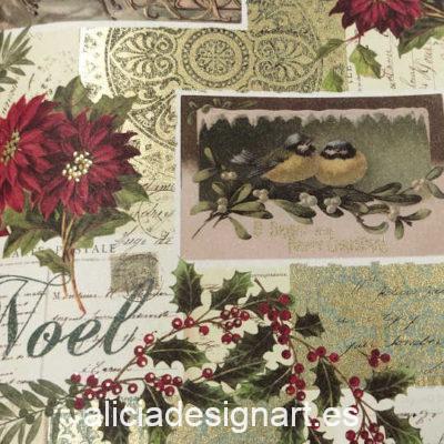 Papel florentino decorativo para découpage y scrapbooking Christmas Postcards de Rossi ref: CRT128 - Taller decoración de muebles antiguos Madrid estilo Shabby Chic, Provenzal, Romántico, Nórdico