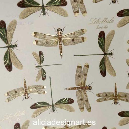 Papel florentino decorativo para découpage y scrapbooking Dragonflies de Rossi ref: CRT101 - Taller decoración de muebles antiguos Madrid estilo Shabby Chic, Provenzal, Romántico, Nórdico