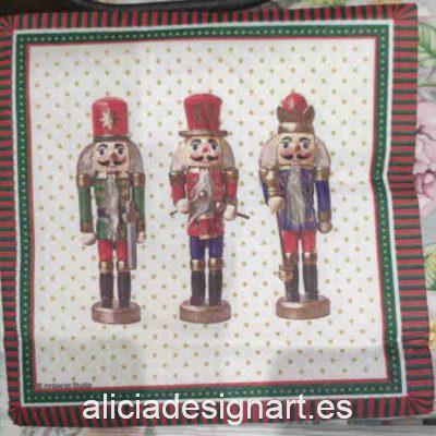 Servilleta para découpage con tres cascanueces Nutcrackers - Decoración de muebles antiguos estilo Shabby Chic, Provenzal, Romántico, Nórdico